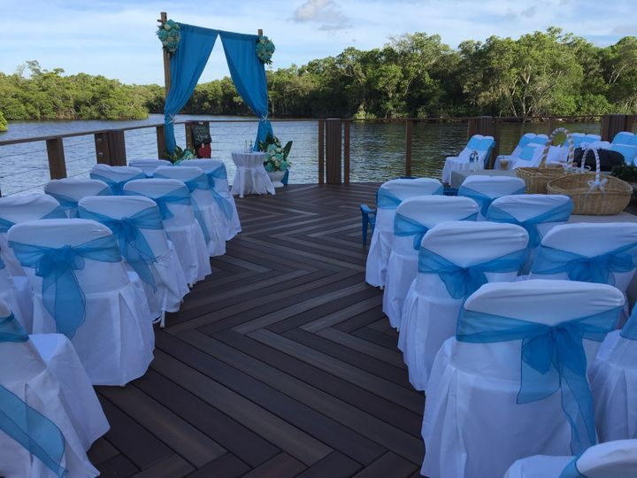Dockside wedding with natural background