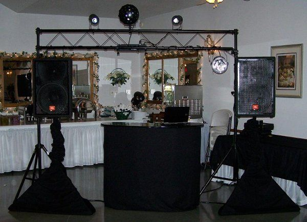 DJ table and sound system