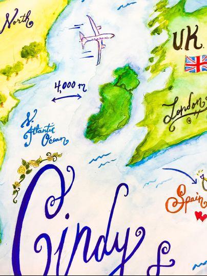 Global romance wedding map