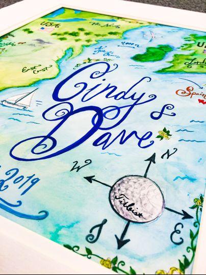 Wedding map golf detail