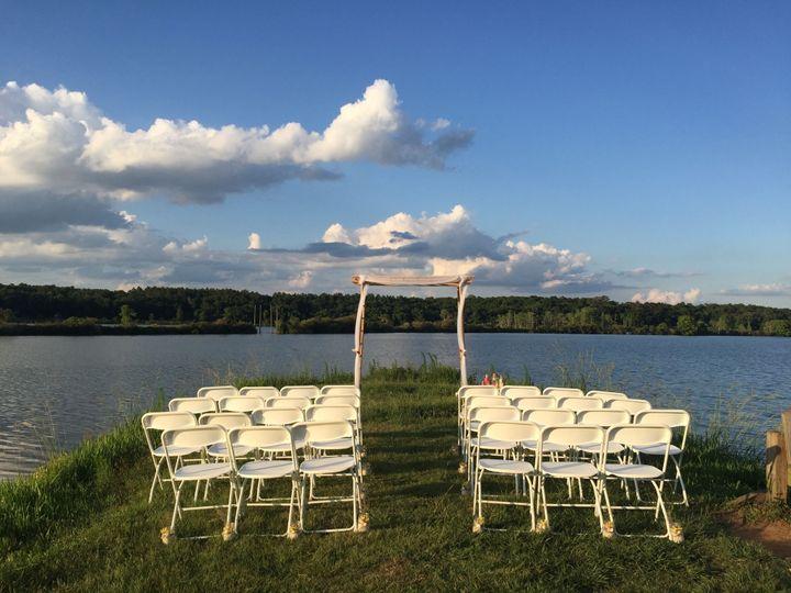 Lakefront ceremony setup