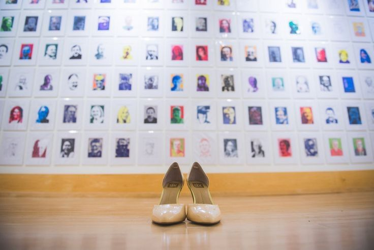 Brides shoes shot in Gallery. Photo by Caris Design.