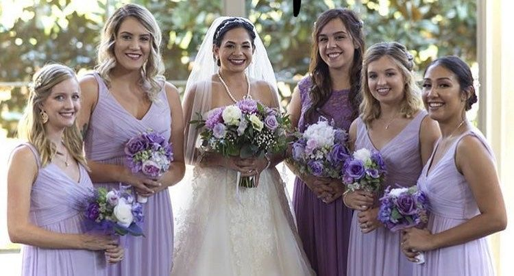 Styled bride and bridesmaids