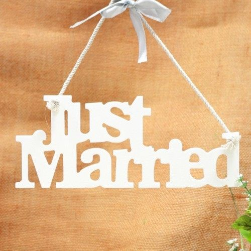 hanging wooden just married sign