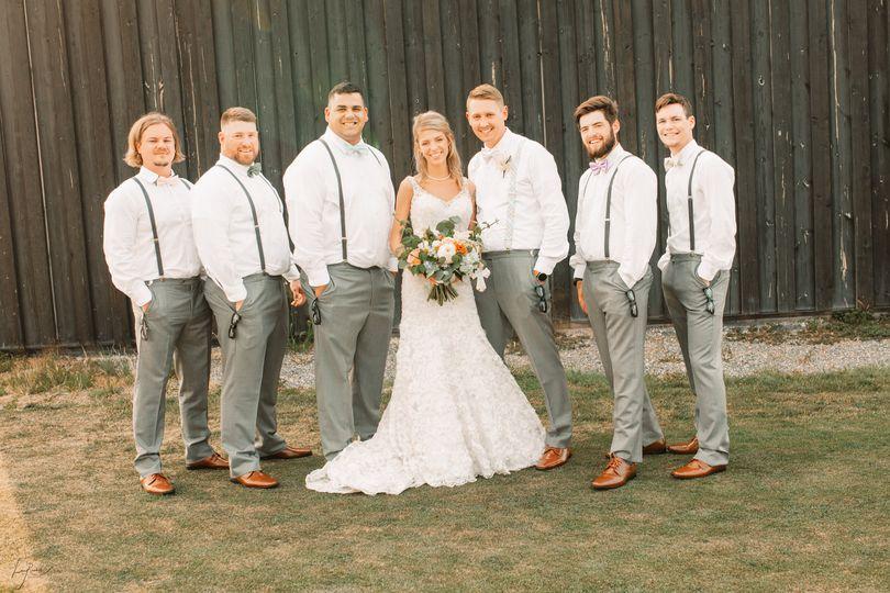 With the wedding entourage