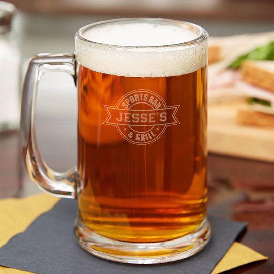 sports bar personalized beer mug