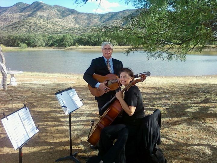 Ocotillo plays ceremony music on guitar, mandolin, cello at a ranch near Tucson.