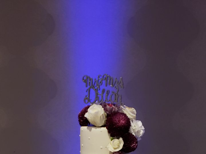 Tmx White And Silver Cake With Plum Flowers 51 155805 Orlando, FL wedding cake
