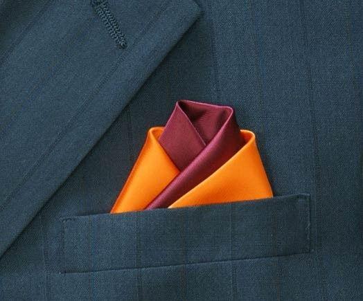 Red and orange pocket square
