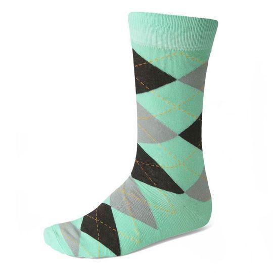 Seafoam and Gray Argyle Socks