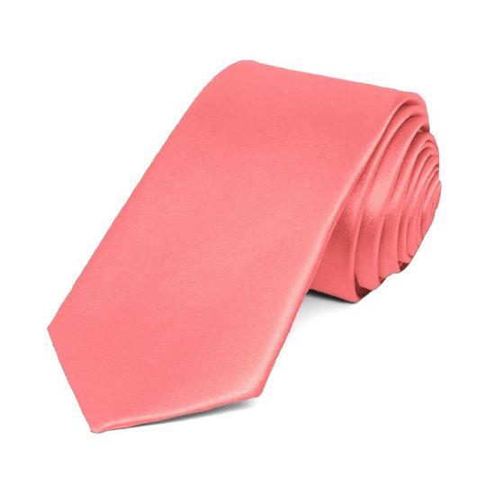 Coral Slim Solid Color Necktie