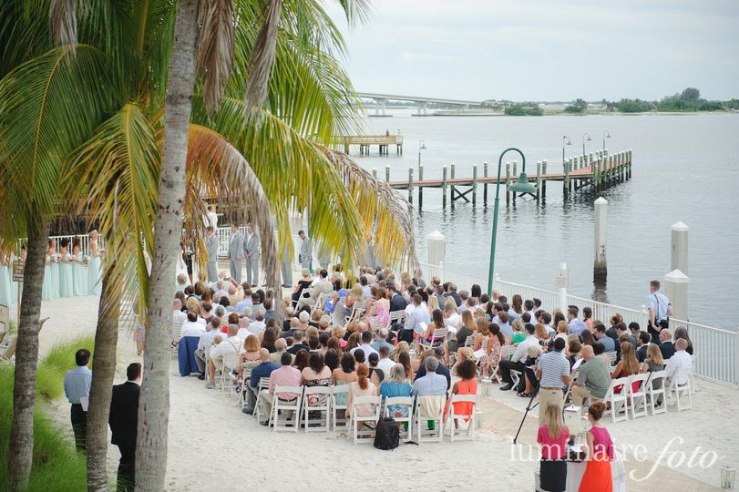 morning beach ceremony seated