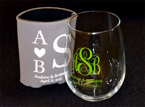 A great example of a monogrammed stemless wine glass and can coolie as wedding favors, these make...