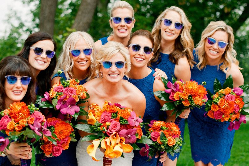 Bride and bridesmaids in shades