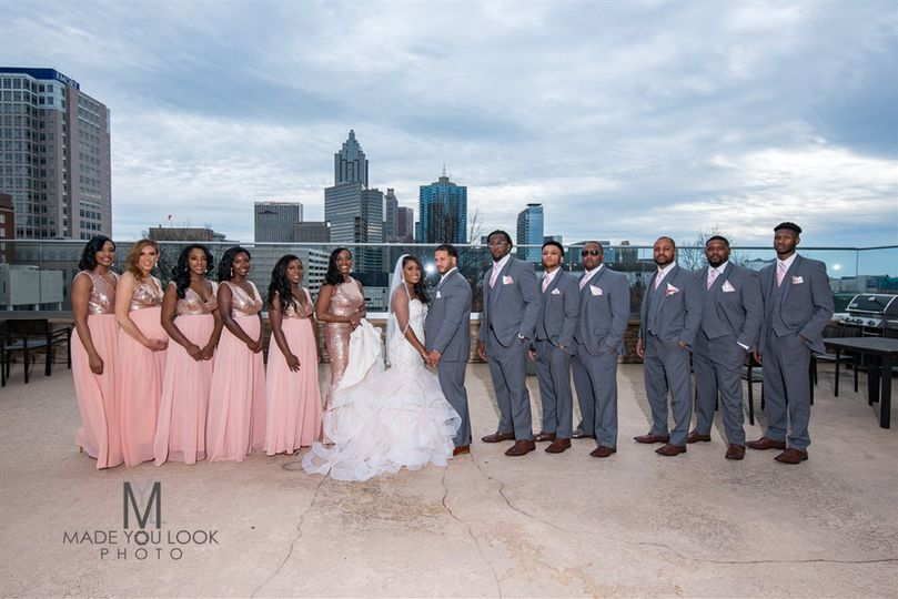 Rooftop pool bridal party