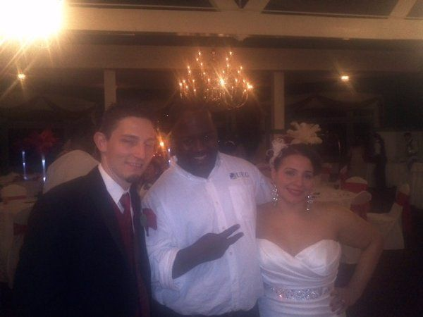 Jeff/DEEJAY 007 with a very happy couple whose wedding was in the Poconos Mountains.