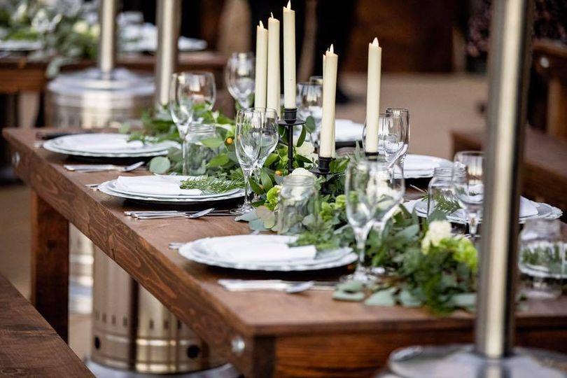 Farm table and decor