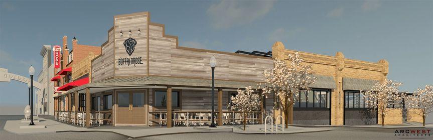3D rendering of The Barbershop patio