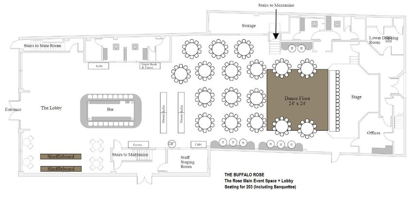 Floor plan for The Rose main event space
