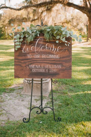 Foliage draped welcome sign by At Last Florals | Tallahassee Wedding Flowers at Goodwood