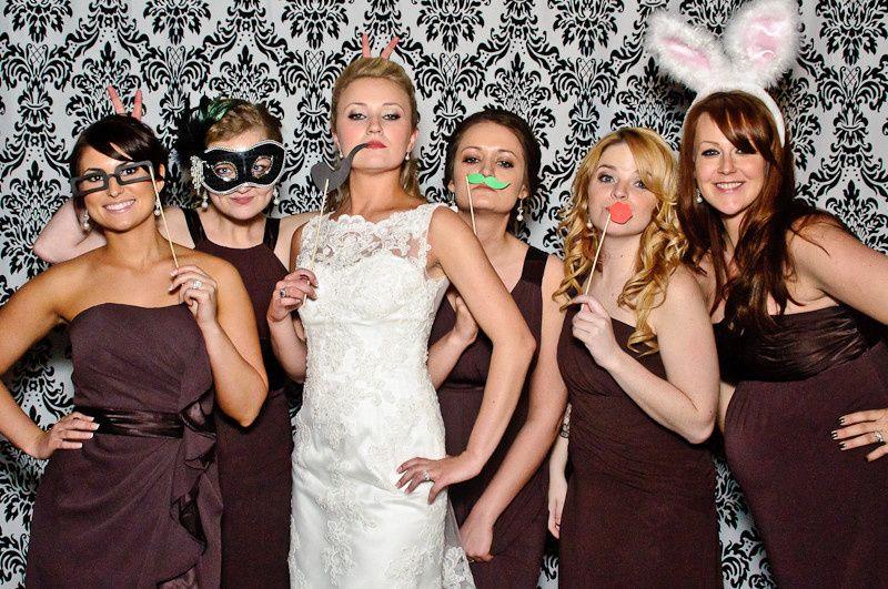 wedding photobooth bride bridesmaids