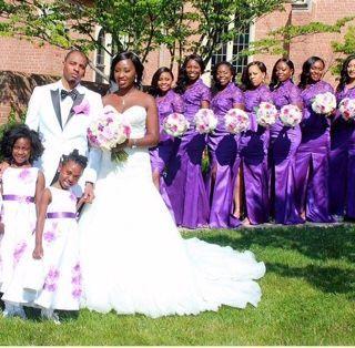 Newlyweds, girls, and the bridesmaids