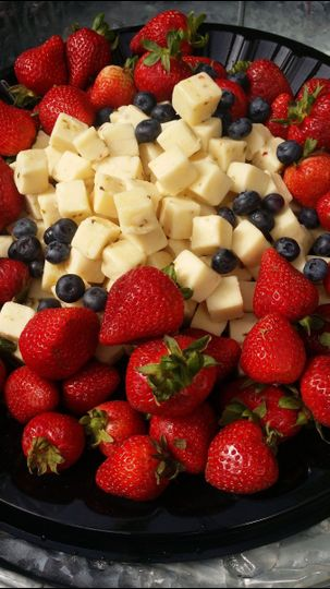 Caprese platter, fresh tomatoes, basil and mozzarella