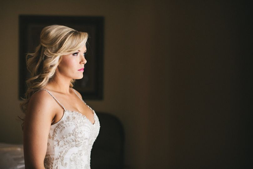 Bride looking out