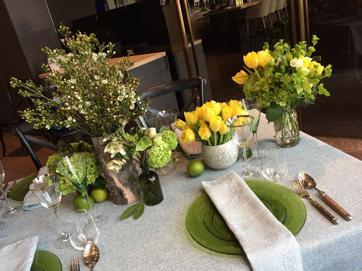 Yellows and Greens Tablescape
