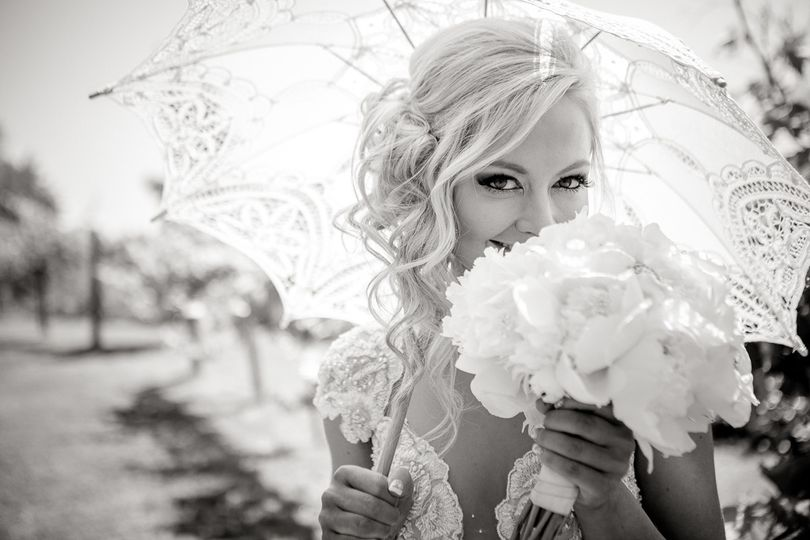 The bride holding a bouquet