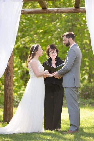 Wedding ceremony at the mad river barn