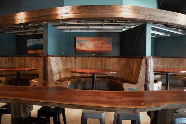 Brazilian cherry wood booths