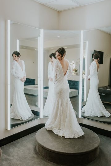 In front of the gown mirror