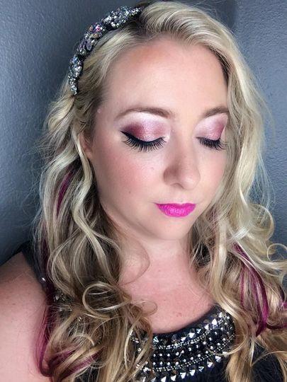 Pink lip and eyeshadow