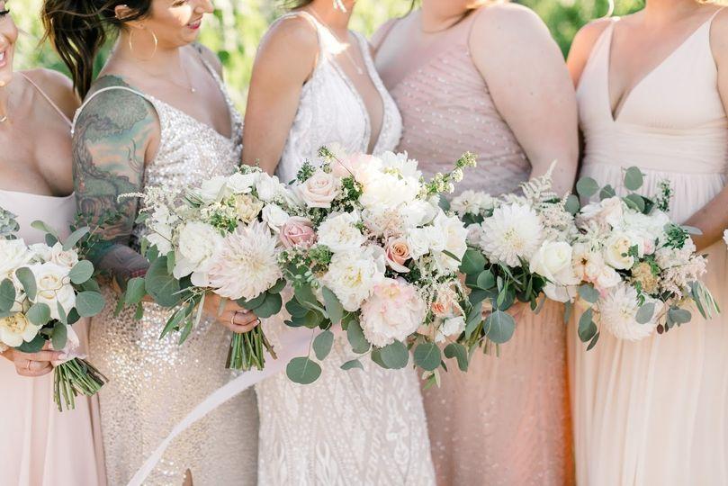 Blush and white bride squad