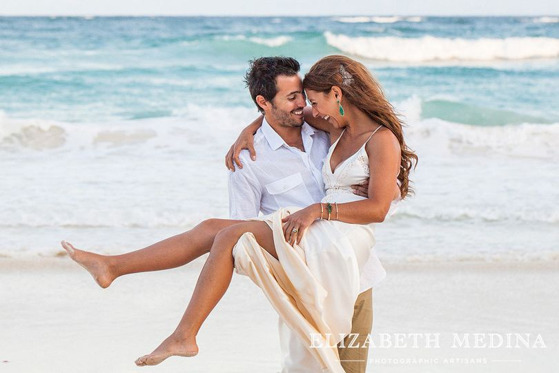 Bohemian chic Tulum Mayan wedding with Simply Natural Events, beach photo bride and groom.