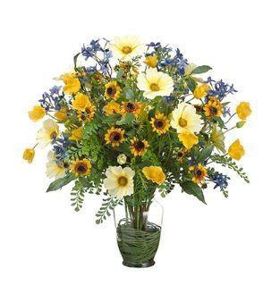 Tmx 1461340308354 Cosmos Poppy Sunflower Fern In Glass Vase Yellow B Lakewood wedding florist