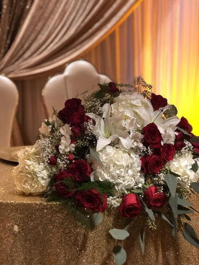 Roses and white lilies