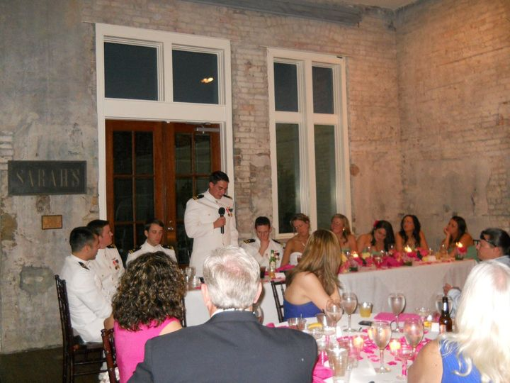 Best Man making the toast at reception at 511 S. Palafox