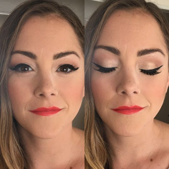 Winged liner and a bold lip