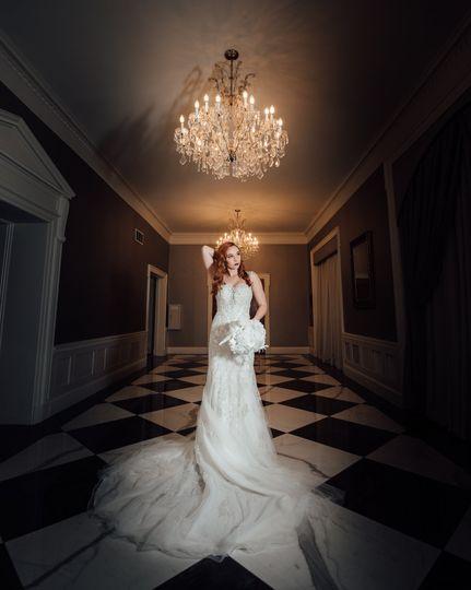 Bridal session in historic venue