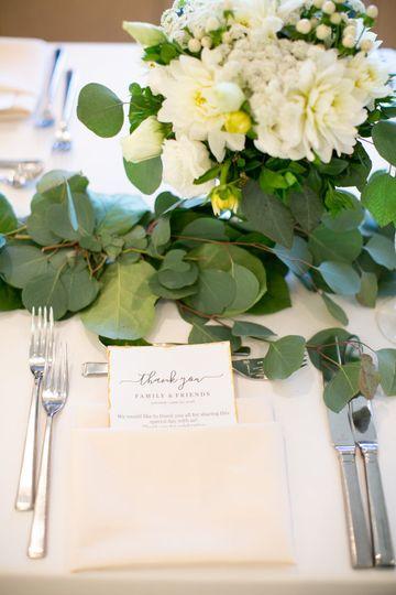 Table runner and goblet flower
