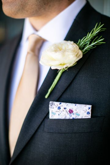 Grooms rosemary boutonniere