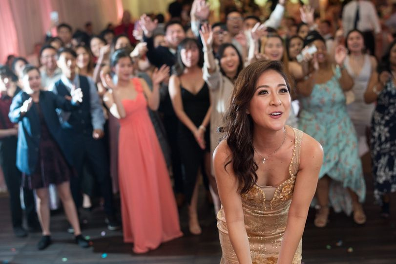 Preparing to throw the bouquet