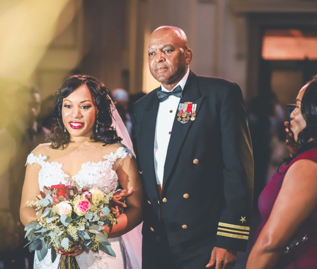 Military father with the bride