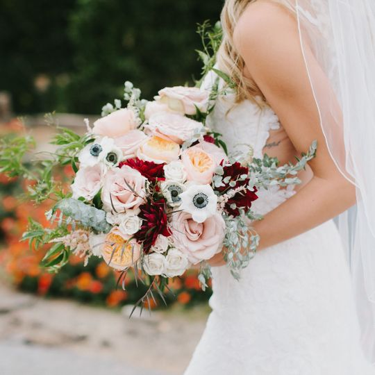 Lady holding a bouquet