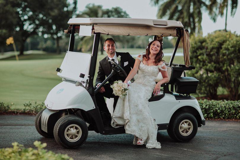 Couple at golf car