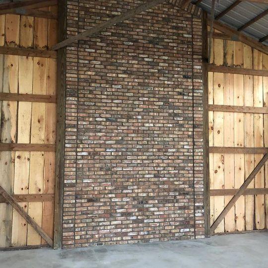 Rustic brick backsplash
