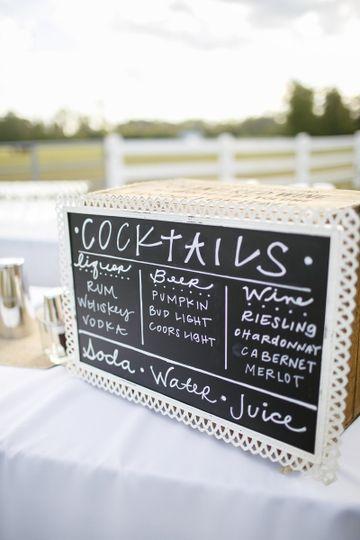 Cocktail menu chalkboard