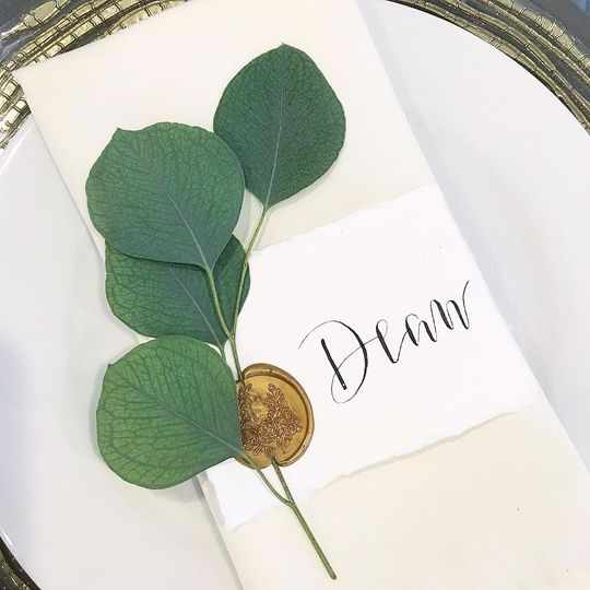 Place card with botanicals